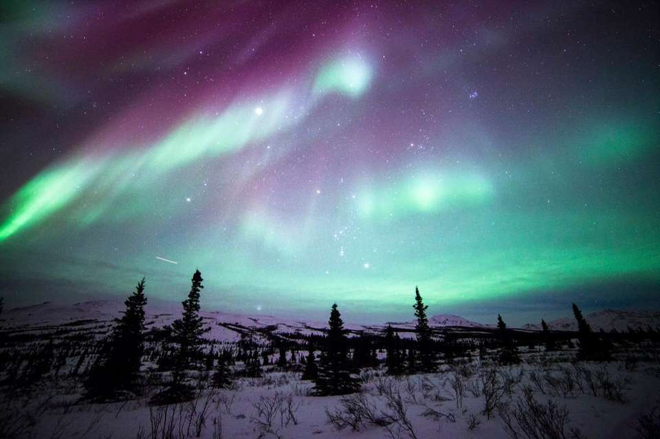 Amazing shot of the northern lights dancing over