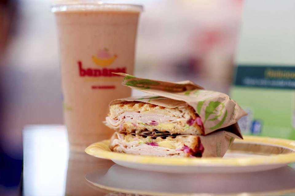 Green Leaf's turkey chipotle panino and, from Bananas,