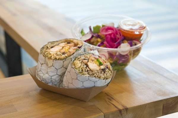 A Texicali wrap of smoked chicken, green poblano