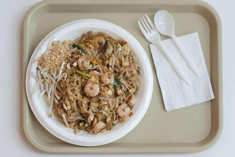 Pad Thai with shrimp is served at Galangal