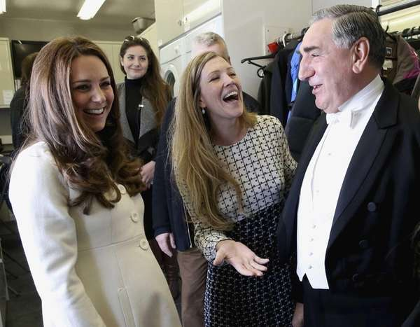 Kate Middleton, Duchess of Cambridge, chats with actor