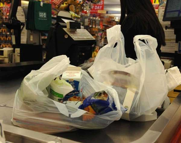 Groceries in disposable plastic bags.