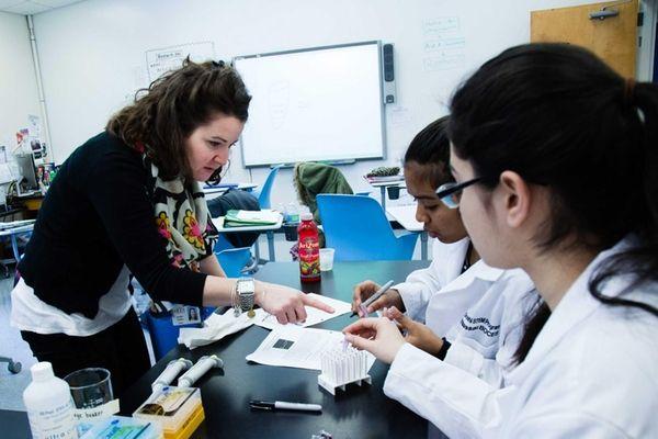 Jennifer Galasso, left, a teacher at Nassau BOCES'