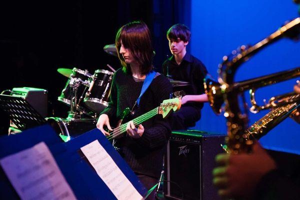 Brian D'Addario, of Hicksville, plays the bass as