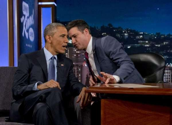 President Barack Obama talks with Jimmy Kimmel during