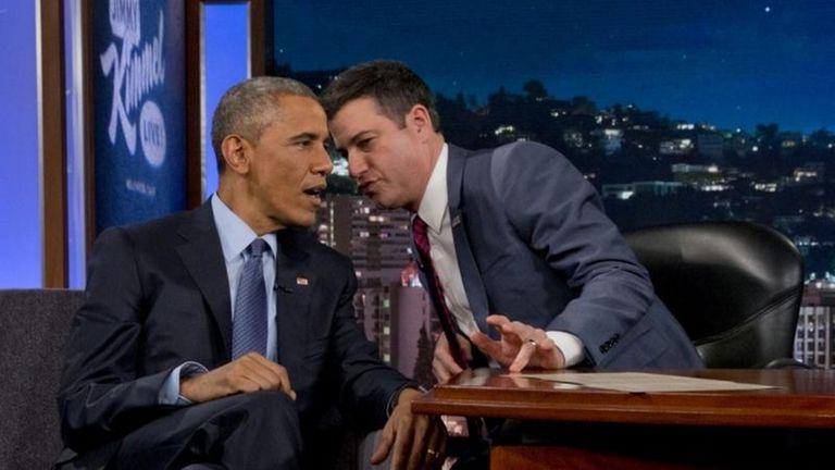 President Barack Obama talks with Jimmy Kimmel during