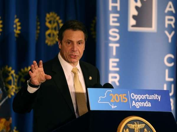 Gov. Andrew Cuomo address a group during a