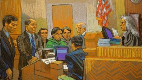 In this courtroom sketch, defendants Akhror Saidakhmetov, fourth