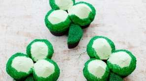 The St. Patrick's Day green velvet cupcake shamrocks
