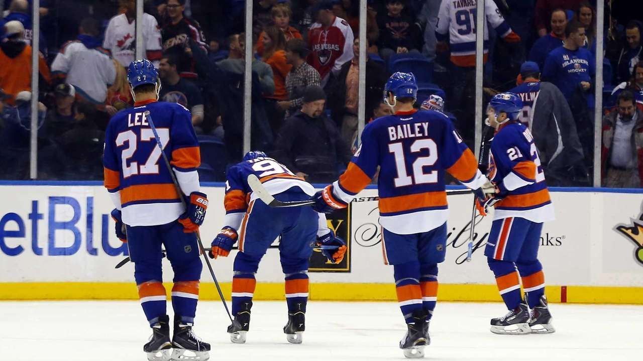Anders Lee, left, John Tavares, Josh Bailey and