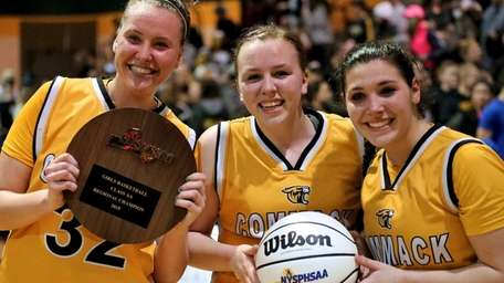 Commack captains Jaclyn DelliSanti, Casey Keenan, and Chelsea