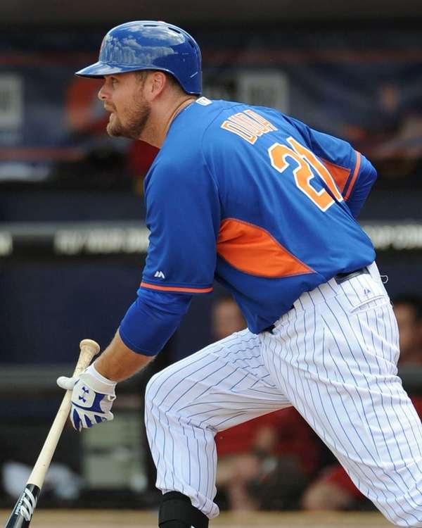 Lucas Duda runs after making his first spring