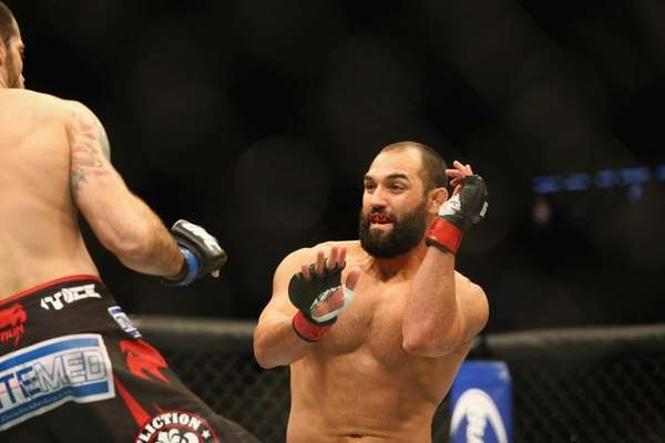 Johny Hendricks fights with Matt Brown in the