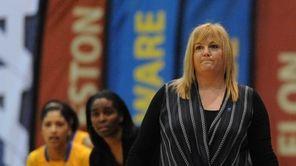 Hofstra head coach Krista Kilburn-Steveskey watches in the