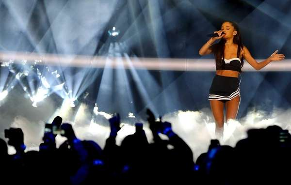 Singer Ariana Grande performs during the 2015 NBA