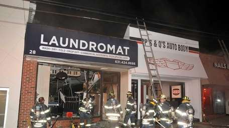 A late-night fire at a self-service laundry on