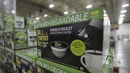 Biodegradable coffee pods are stacked on March 4,
