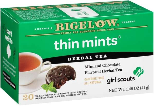 Thin Mints herbal tea from Bigelow Tea is