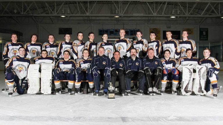 The Northport-Huntington varsity ice hockey team poses for