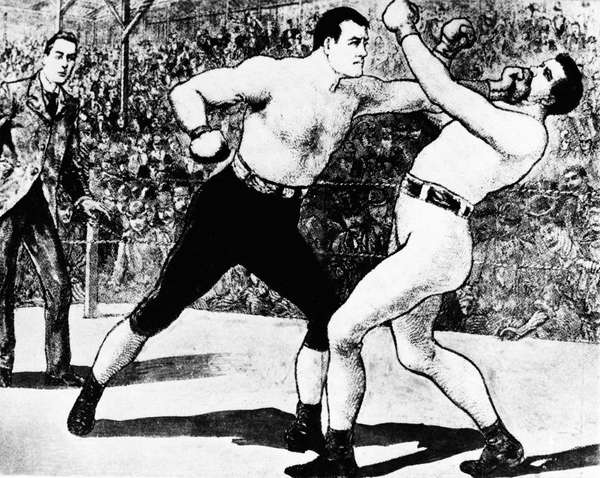 This drawing shows fight action between heavyweight Jim
