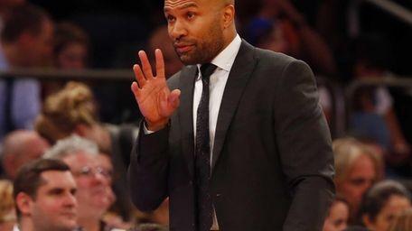 Derek Fisher of the New York Knicks looks