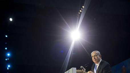 Israeli Prime Minister Benjamin Netanyahu speaks at the