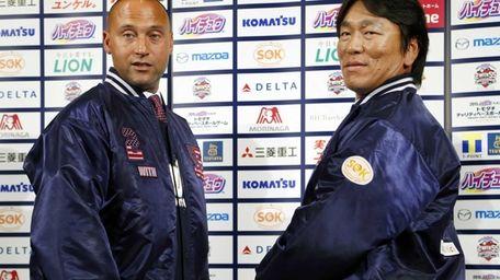 Former Yankees Derek Jeter, left, and Hideki Matsui