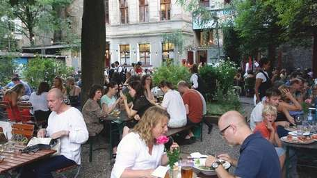 An economical beer-garden meal in Berlin, Germany, will
