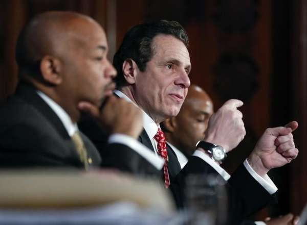 New York Gov. Andrew Cuomo speaks during a