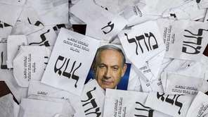 A poster portrait of the newly re-elected Israeli