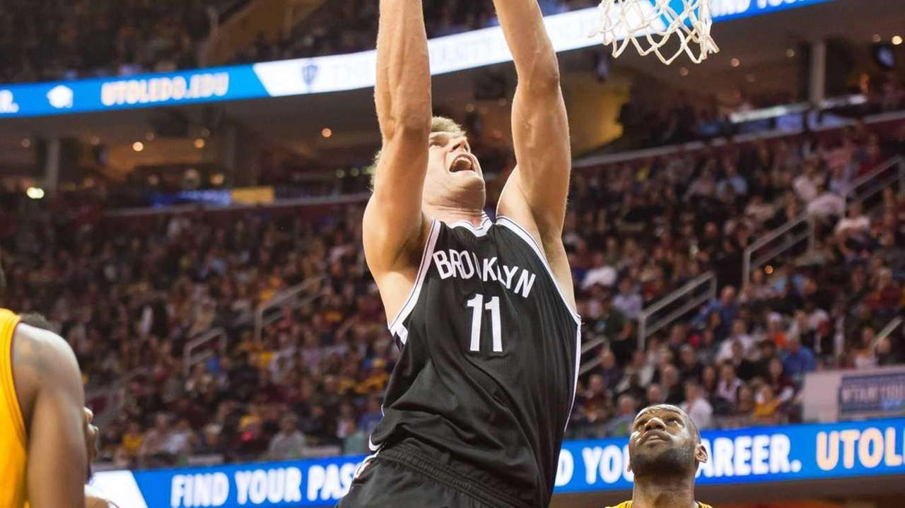 Brook Lopez of the Brooklyn Nets goes up