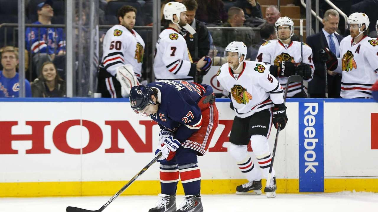 Ryan McDonagh of the New York Rangers reacts