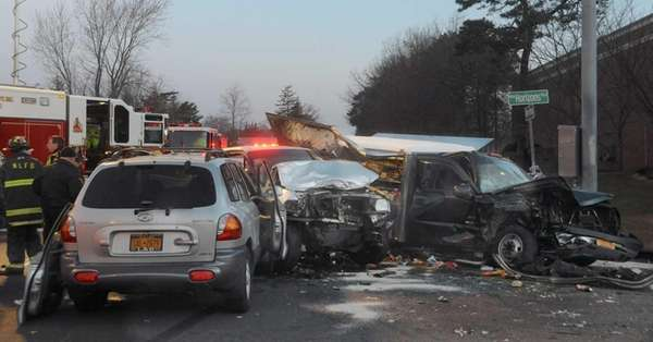 A serious crash involving three vehicles, including a
