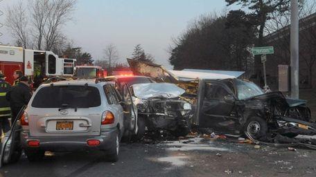 A serious crash involving three vehicles, including a