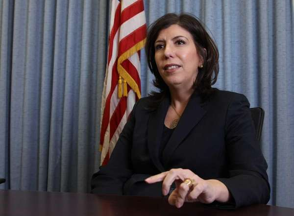 Madeline Singas, Nassau County's acting district attorney, speaks
