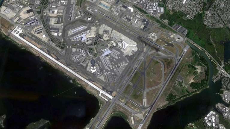 A satellite view of John F. Kennedy Airport.