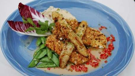 Potato-and-onion-crusted fluke with sugar snap peas and garlic