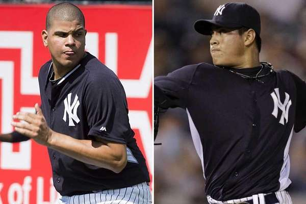 This composite image shows Yankees reliever Dellin Betances,