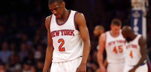 Langston Galloway of the New York Knicks looks