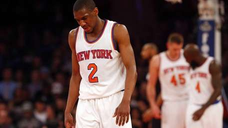 Langston Galloway of the New York Knicks looks