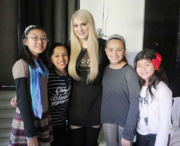 Singer Meghan Trainor with Kidsday reporters Grace Lim,