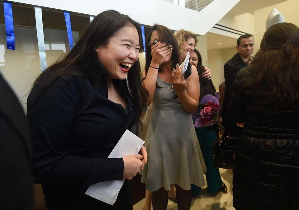 Hofstra medical students Alice S. Chau, left, and