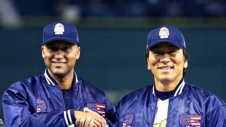 Former New York Yankee players Derek Jeter and