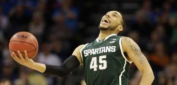 Denzel Valentine #45 of the Michigan State Spartans