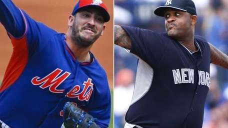 Mets pitcher Matt Harvey and Yankees pitcher CC