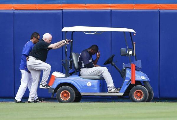 New York Yankees centerfielder Jose Pirela, right, waits