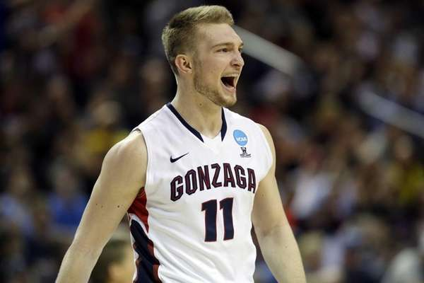 Gonzaga's Domantas Sabonis reacts to a play against