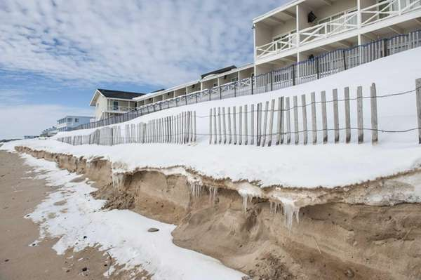 Erosion from ocean waves caused by a blizzard