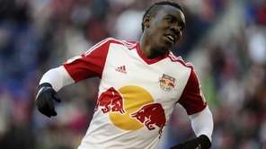 New York Red Bulls midfielder Lloyd Sam reacts