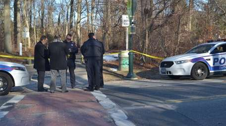 Suffolk County police detectives on the scene in